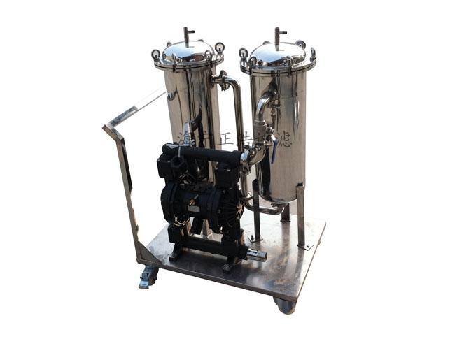 气动隔膜泵带动袋式过滤器